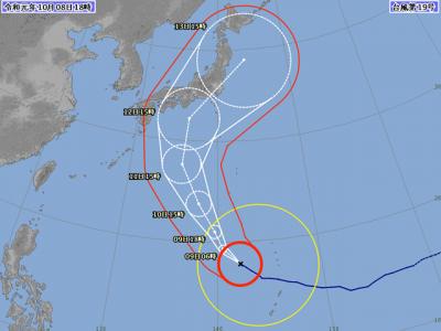 台風19号進路図(10月8日18時)