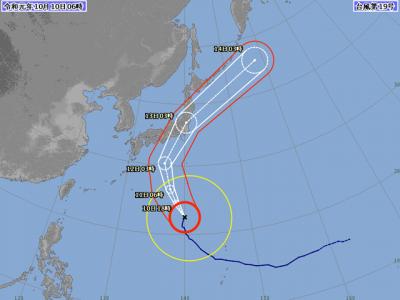 台風19号進路図(10月10日6時)