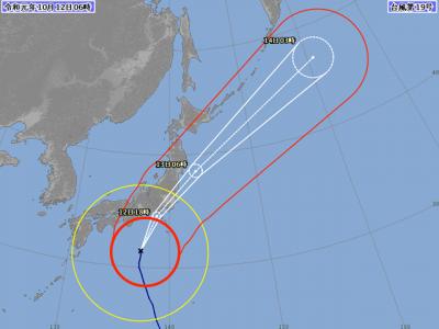 台風19号進路図(10月12日6時)