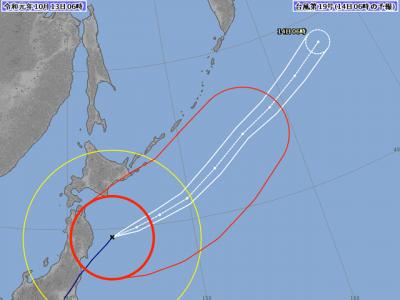 台風19号進路図(10月13日6時)