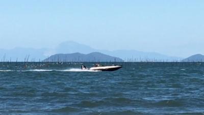 2日連続の強風!! 真野浜から眺めた琵琶湖北湖(YouTubeムービー)