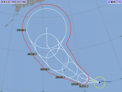 台風21号進路図(10月19日21時)