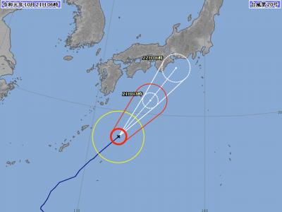 台風20号進路図(10月21日6時)