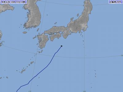 台風20号進路図(19月21日18時)
