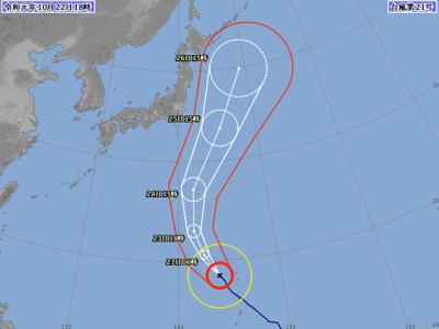 台風21号進路図(10月22日18時)