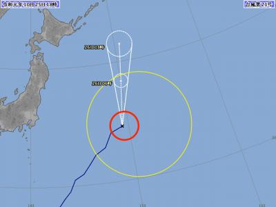 台風21号進路図(10月25日18時)