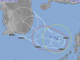台風24号進路図(11月6日18時)