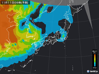 PM2.5分布予測(11月11日9時)