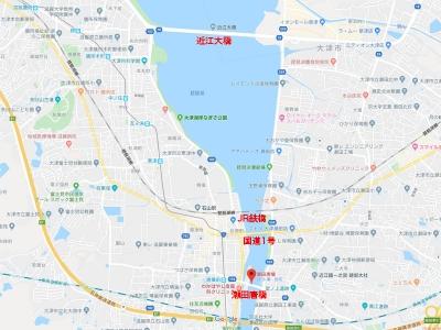 近江大橋以南の琵琶湖と瀬田川