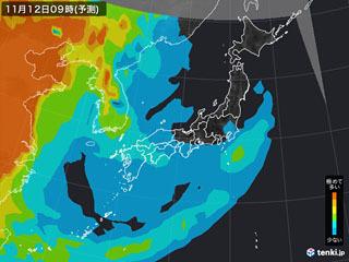 PM2.5分布予測(11月12日9時)