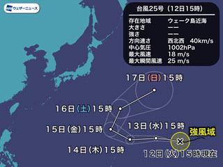 台風25号進路予想(11月12日15時)
