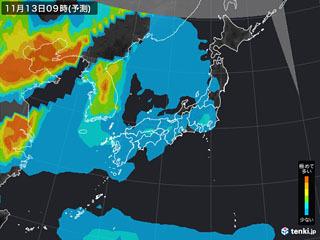 PM2.5分布予測(11月13日9時)