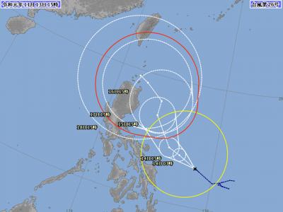 台風26号進路図(11月13日18時)