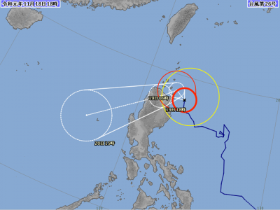 台風26号進路図(11月18日18時)