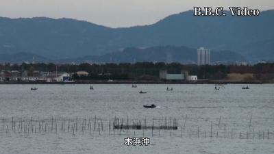穏やかな土曜日の琵琶湖 木浜沖はプチ船団が復活(YouTubeムービー)