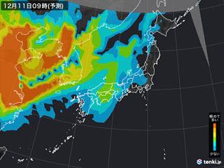 PM2.5分布予測(12月11日9時)