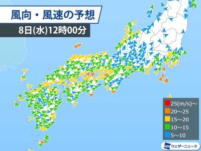 風向・風速の予想(1月8日12時0分)