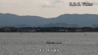 風がましになった日曜日の琵琶湖!! 木浜沖はボートが4隻しかいません(YouTubeムービー)