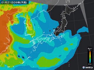 PM2.5分布予測(1月21日9時)