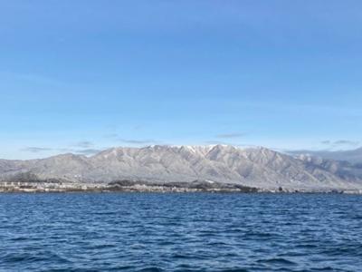 琵琶湖北湖から眺めたい比良山(2月7日8時頃)