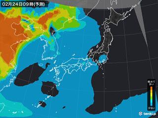 PM2.5分布予測(2月24日9時)