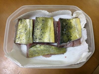 腹側の身はムニエル用にブツ切りで冷蔵庫保管します