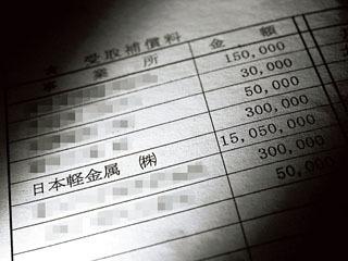 突出した金額の補償金が記載された漁協資料
