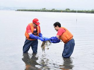 赤野井湾に立ち込んで湖底のゴミを回収する日本コカ・コーラ社長と守山市長