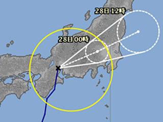 台風6号進路図(7月27日12時)