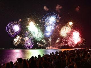 琵琶湖の湖上から次々と打ち上げられる花火を湖岸から眺める人達