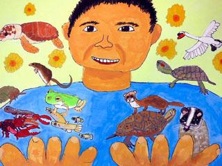 豊橋市の絵画展で市長賞に選ばれた「外来生物もみんな同じいのち」