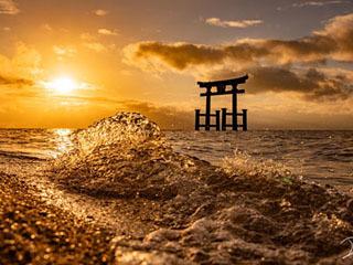 明け方の白髭神社の水中鳥居