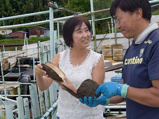 淡水真珠生産者の齋木雅和さんと話し合うジュエリーデザイナーの西田裕胡さん