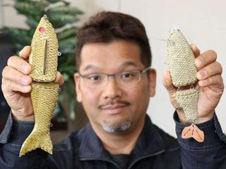 姫路の皮革メーカーが開発中のバスの皮貼りルアー