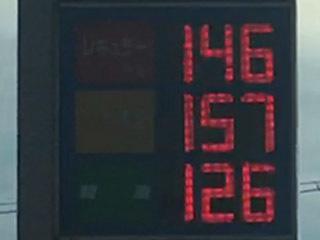レギュラーガソリン146円/L 西近江路沿い大津市堅田のセルフGSで(20/01/17)