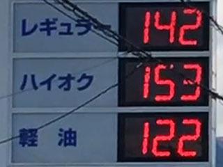 レギュラーガソリン142円/L 西近江路沿い大津市真野のセルフGSで(20/02/20)