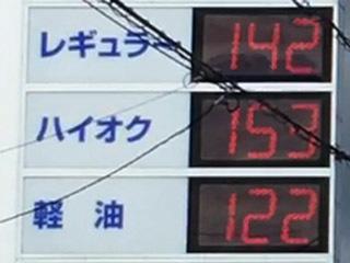 レギュラーガソリン142円/L 西近江路沿い大津市真野のセルフGSで(20/02/28)