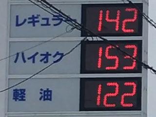 レギュラーガソリン142円/L 西近江路沿い大津市真野のセルフGSで(20/03/05)