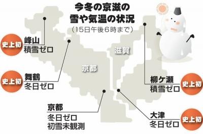 京滋の雪と気温の状況
