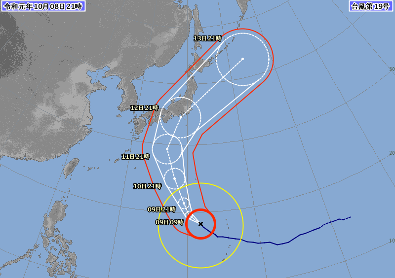 20191008台風19号進路