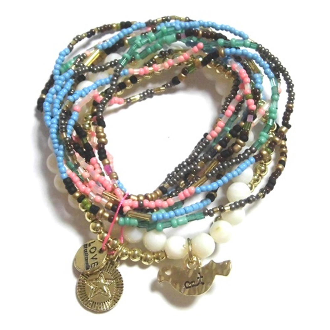 c001 multi colored coco bracelet set natural (4)11111