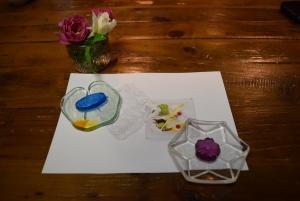 ガラス皿箸置き