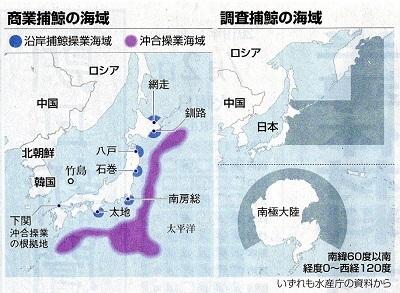 商業捕鯨調査捕鯨の海域19.7.2