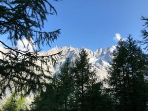 谷の向こうに見える山並みが陽光を浴びて美しい
