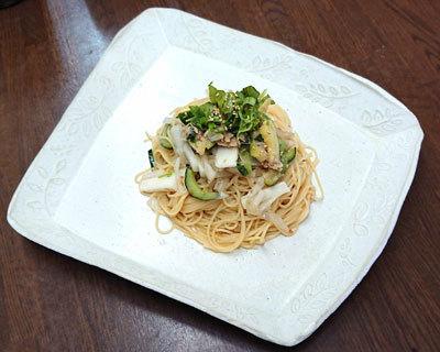 野菜たっぷりツナと長芋のカッペリーニ