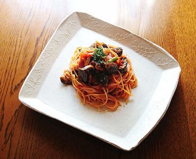 ナスとベーコンのトマトスパゲッティ