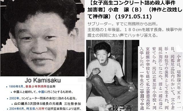 神作譲(小倉譲) →在日朝鮮人。女子高生コンクリート詰め殺人犯。サブリーダー的存在