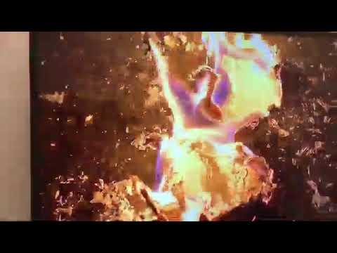 津田大介炎上中の昭和天皇写真焼かれてる作品 #あいちトリエンナーレ #表現の不自由展
