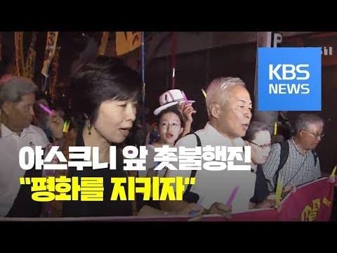 전쟁 반대, 헌법 개정 반대…야스쿠니 앞 촛불행진
