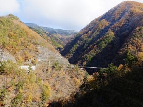 深城ダム管理橋から下流を望む